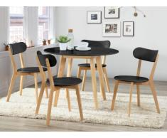 Pack salle à manger: Ensemble table + 4 chaises COLETTE - Noir & naturel