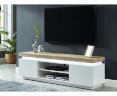 Meuble TV HALO - 2 portes - MDF laqué - Avec LEDs - Blanc et chêne