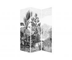 Paravent imprimé ethnique JANGAL - toile et bois de pin - L.120 x H.180 - noir et blanc