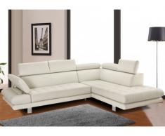 Canapé d'angle cuir luxe italien EFFLEUREMENT - Ivoire - Angle droit