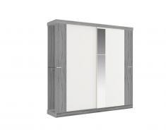 Armoire ADALRIK - 2 portes coulissantes - Avec miroir - L231cm - Gris et blanc