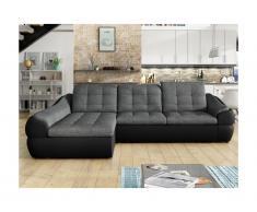 Canapé d'angle convertible en tissu et simili FAREZ - Bicolore gris et noir- Angle gauche