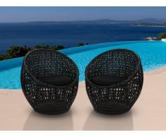 Lot de 2 chaises de jardin CAZAS en résine tressée - noir