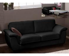 Canapé 3 places convertible cuir luxe SALERNE - cuir italien - noir