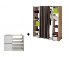 Ensemble dressing + meuble de rangement EMERIC - Blanc/Chêne & Taupe