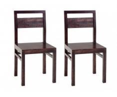 Lot de 2 chaises LOUXOR - Bois de Manguier & MDF