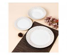 Service vaisselle 18 pièces art déco - PATCHOULI - Porcelaine - Blanc et doré