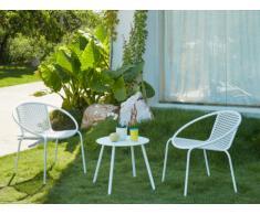 Salon de jardin NAJAC en métal: 2 fauteuils ronds empilables et une table d'appoint - Blanc