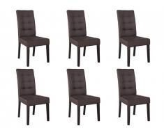 Lot de 6 chaises VILLOSA - Tissu marron & Pieds bois foncé