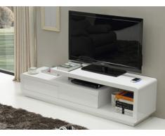 Meuble TV ARTABAN - MDF laqué blanc - Chargeur sans fil intégré