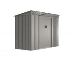 Abri de jardin en acier galvanisé gris avec claire-voies transparentes FOLCO - 3,24 m²