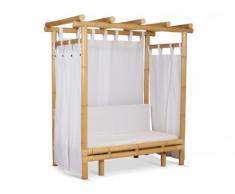 Canapé 3 places à baldaquin POEVA en bambou - Coussins et voilage blanc