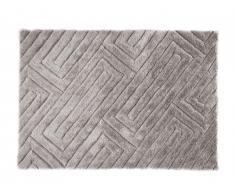 Tapis shaggy effet 3D MAZE - polyester - Beige/gris - 160*230cm