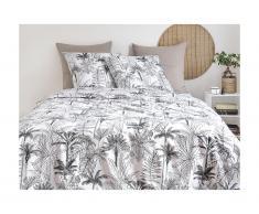 Parure de lit en percale de coton PALMIA - housse de couette 240 x 260 cm + 2 taies d'oreiller 63 x 63 cm - blanc et gris