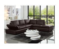 Canapé d'angle en cuir ONYX II - Chocolat - Angle droit