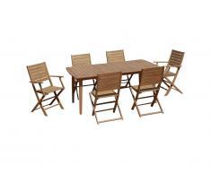 Salle à manger de jardin pliante NEMBY en acacia: une table extensible L180/240cm + 2 fauteuils + 4 chaises - Rallonge papillon