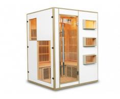 Sauna Infrarouge 3/4 places Gamme prestige MIKELI III - L150*P130*H190 cm - 2250W - Blanc