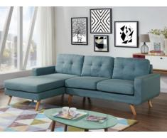 Canapé d'angle en tissu SIGRID - Bleu clair - Angle gauche