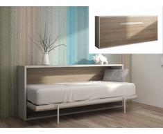 Lit escamotable EUGENIA ouverture horizontale automatique - 90x200cm - Blanc/Chêne