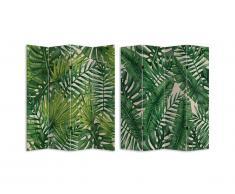 Paravent imprimé 4 pans feuillage tropical GREENY - 161 x 180 cm