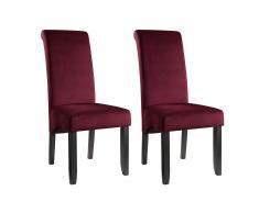 Lot de 2 chaises DELINA - Velours matelassé & pieds bois - Bordeaux