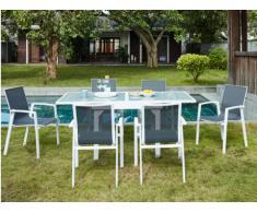 Salle à manger de jardin SALYAN en aluminium - une table extensible 90/180cm + 6 fauteuils - Assise anthracite