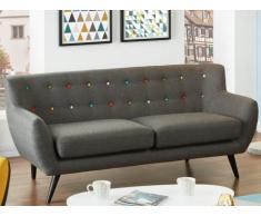 Canapé 3 places en tissu SERTI - Gris anthracite avec boutons déco multicolores