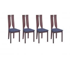 Lot de 4 chaises SILVIA - Hêtre massif - Noyer et gris