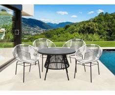 Salle à manger de jardin KELIOS en résine tressée : 4 fauteuils gris et blanc et une table noire