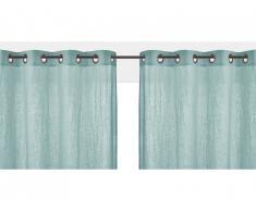 Lot de 2 rideaux à oeillets FIGUIERA - 100% lin - 140x260cm - Bleu clair