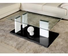 Table basse ALIENOR II - Verre trempé et MDF laqué blanc et noir