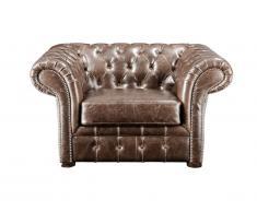 Fauteuil chesterfield CLOTAIRE 100% cuir vieilli