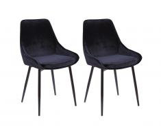 Lot de 2 chaises MASURIE - Velours - Noir