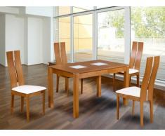 Pack salle à manger: Ensemble Table + 4 chaises SALENA - Hêtre massif - Coloris chêne