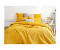 Parure de lit en gaze de coton LEGERO - housse de couette 240 x 260 + 2 taies d'oreiller 63 x 63 cm - moutarde