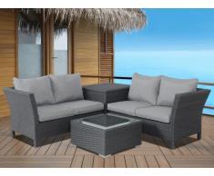 Salon de jardin d'angle TERESINA en résine tressée anthracite: un canapé, une table d'appoint et une table basse - assise grise