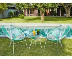 Salon de jardin ALIOS II en fils de résine tressés - Blanc, gris, vert d'eau: 2 chaises et une table