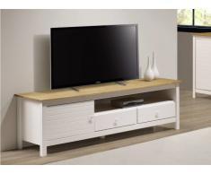 Meuble TV NEWPORT - 1 porte & 2 tiroirs - Pin - Blanc et chêne