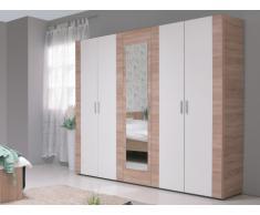 Armoire MILANA - 5 portes réversibles - L.223 cm - Chêne et Blanc/Anthracite