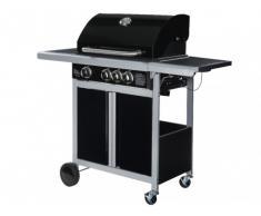 Barbecue à gaz en acier époxy REGAL - 3 brûleurs + 1 latéral
