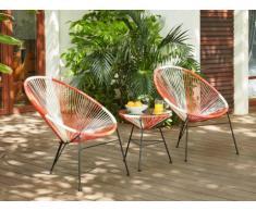 Salon de jardin ALIOS II en fils de résine tressés - Corail, rose, blanc : 2 chaises et une table