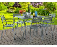 Salle à manger de jardin LUXEMBOURG : une table, 2 fauteuils et 4 chaises - Taupe