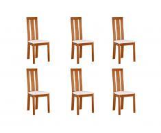 Lot de 6 chaises DOMINGO - Hêtre massif chêne