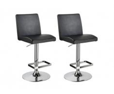 Lot de 2 tabourets de bar TOMMY - Simili noir