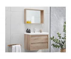 Ensemble meuble de salle de bain avec miroir QUADRA - effet bois 80cm