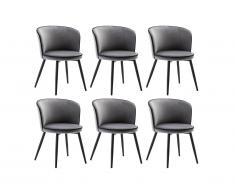 Lot de 6 chaises MILANO - Velours & Acier - Gris