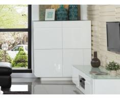 Buffet haut BRADY - MDF laqué blanc & verre trempé - 4 portes