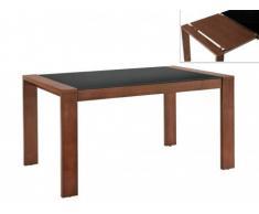 Table à manger extensible RUBBEN - 6 à 8 couverts - Hêtre massif & Verre trempé - Coloris Noyer & Noir