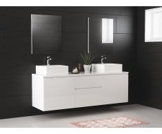 Ensemble de salle de bain JIMENA suspendus avec double vasque et miroirs - blanc