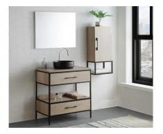 Ensemble salle de bain YAMINA - meuble sous vasque + vasque + miroir + meuble haut - effet bois